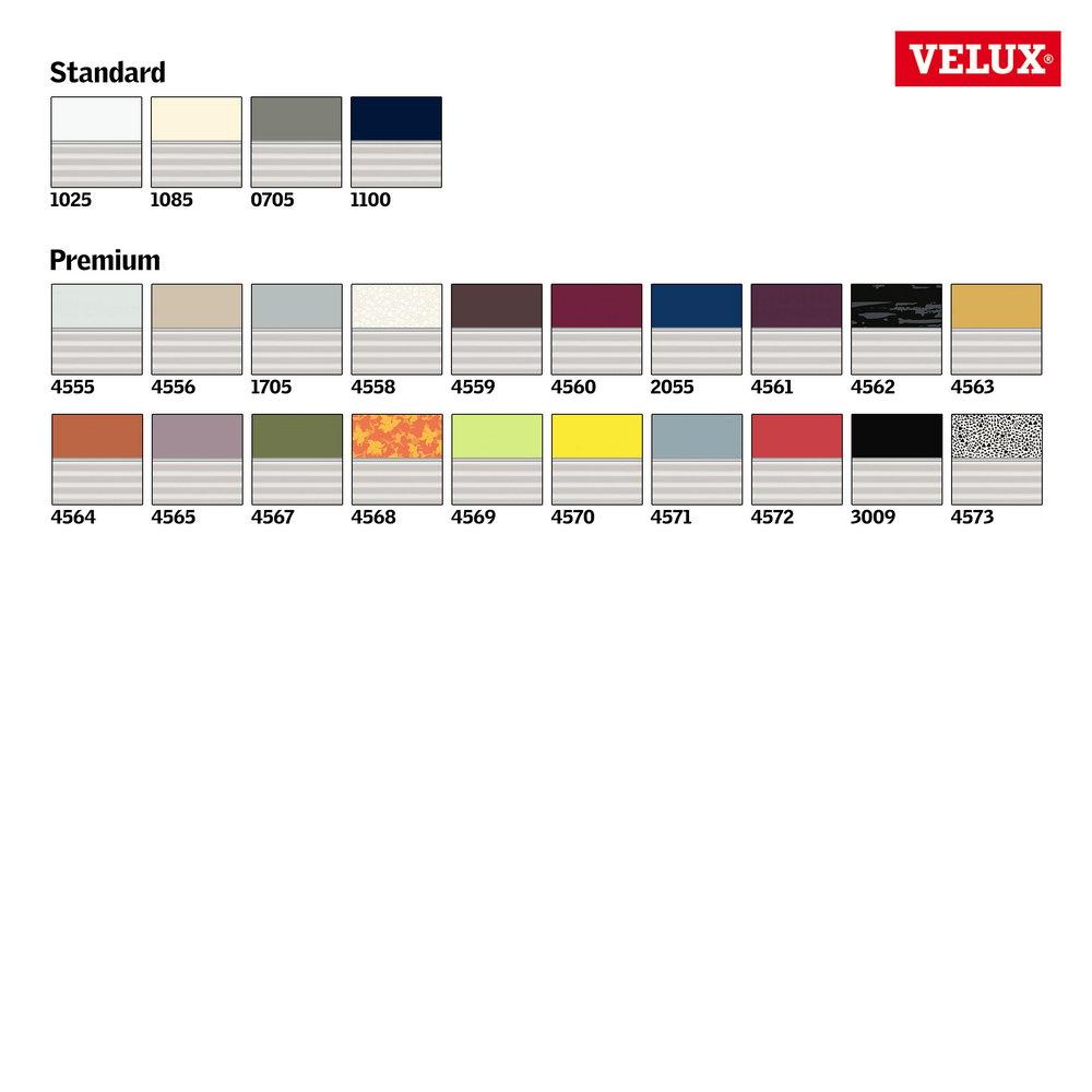 Velux Verdunkelungsrollo + Plissee Farbkarte